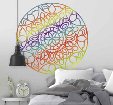 Decorative mandala wall art sticker imitating the colour of a rainbow. Beautiful wall  art design to decorate any wall space in a house. Easy to apply.