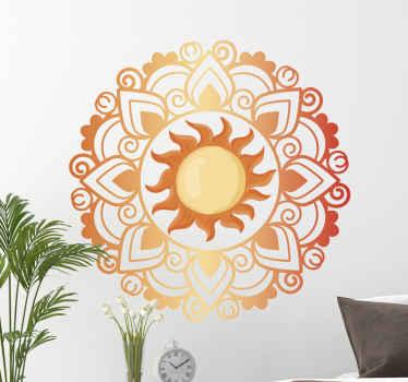 寝室、居間およびあなたの選択の他のスペースのための太陽曼荼羅花の壁のステッカーの装飾。適用が簡単で高品質です。