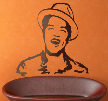 Sticker decorativo illustrazione Bruno Mars