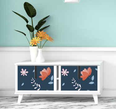 vinilo mueble con estampado de rosas vintage para que decores tu comedor o salón de forma original. Elige medidas ¡Envío exprés!