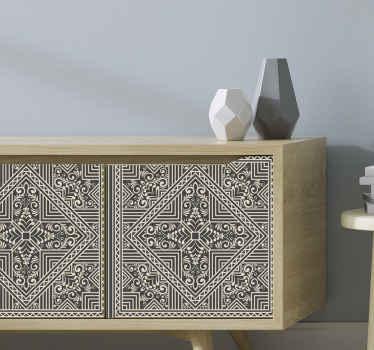 特にテレビスペースのためのリビングルームの家具を美しくするための古典的な装飾用のzentangleパターンの家具デカール。そのオリジナルの、耐久性と接着性
