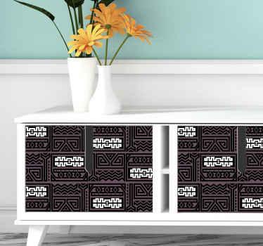 倫理的な細工された外観で家具スペースを飾るための部族パターンの背景家具デカール。高品質のビニールと耐久性のある製造。