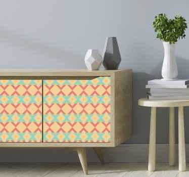 オリジナルのプリントされたエスニックオレンジのオーナメント家具ステッカーで、家やオフィスの家具スペースを飾りましょう。オリジナル、耐久性、粘着性。