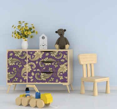 花と渦巻きの素敵なペイズリースタイルのパターンが特徴の家具ステッカー。サイズをお選びください。高品質。