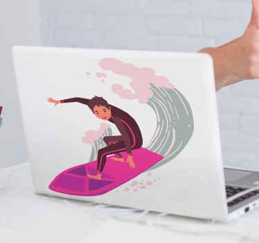Laptop Sticker mit einem surfer, perfekte dekoration für alle surfliebhaber. Aus hochwertigem vinyl. Einfach anzuwenden. 100% zufriedenheit.