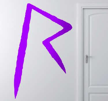 """Adhesivo con el emblema de la exitosa cantante de las Barbados, su inicial """"R"""" en un reconocible trazo."""