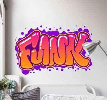 Graffiti muursticker met het woord 'funk' in een cool graffiti lettertype en omgeven door stippen. Gemakkelijk aan te brengen en te verwijderen.