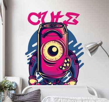 """Graffiti falmatrica, amelyen egy aranyos szörny látható, egyik szeme mosolyogva, fölötte az """"aranyos"""" szó. Nulla maradék eltávolítás után."""