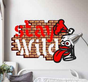 A stay wild graffiti sticker with spray for all those graffiti lovers. It will give any space in the house a cool aspect. High quality product.