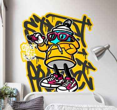 A colorful graffiti cartoon sticker for all those graffiti lovers. It will give any space in the house an cool look while lasting for years.