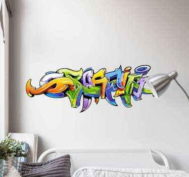 Een kleurrijke graffiti zelfklevende sticker voor al die graffiti liefhebbers. Het geeft elke ruimte in huis een coole en geweldige uitstraling terwijl het jaren meegaat.