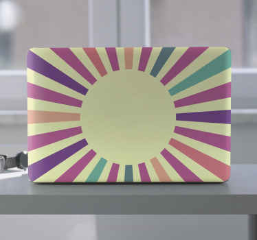 Skin d'ordinateur portable soleil géométrique des années 70 pour votre ordinateur portable avec des couleurs d'illustration de la réfraction du soleil. Il est original, durable et facile à appliquer