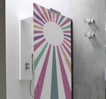 Diseño encantador de vinilo mampara ducha de los geométrico vintage en tonos morados para decorar. Elige medidas ¡Envío exprés!