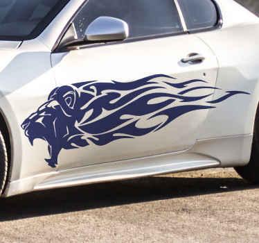 Decora tu coche con este vinilo para coches de león tribal con llamas en la melena. Ideal para coche de carreras ¡Envío exprés!