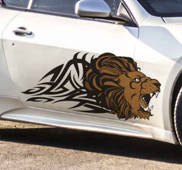 Tribal colorful lion car sticker to decorate your vehicle with a lovely touch. It is available in any size required and it is easy to apply.
