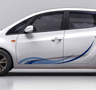 Belle conception d'autocollant de voiture sticker vague bleu profond et clair décoratif. Il est original facile à appliquer et durable. Disponible dans toutes les tailles requises.