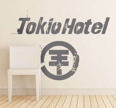 A superb music wall sticker of the famous German group, Tokio Hotel! Decorate your bedroom with this monochrome decal.