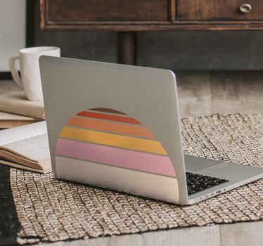 Conception de stickers d'ordinateur portable vintage décorative simple imitant le soleil. Un dessin formé avec différentes couches de couleurs en forme de demi-cercle.