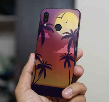 Decorative sunset Huawei sticker in vintage style  to beautify the surface of your iPhone. It is original, durable and really easy to apply.