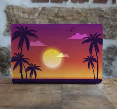熱帯の木々のラップトップデカールと美しい夕日。あなたのデバイスのスペースに自然のタッチをインストールするための素晴らしいデザイン。適用が簡単です。