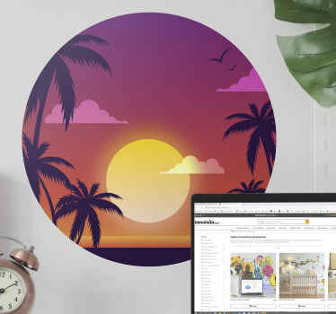 Beautiful sunset wall sticker with amazing colour texture. The design depicts sunset with clouds in the sky and tropical trees on the landscape.
