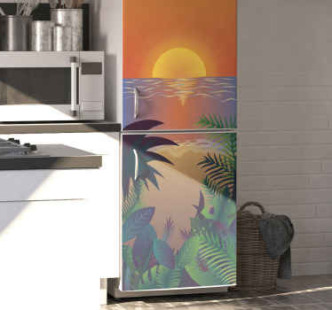 Realistic sunset bearch fridge door sticker. A design depicting sunset at sea with beautiful tropical trees and leaves. It is easy to apply.