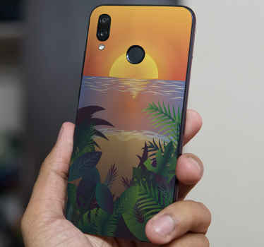 This decorative sunset Huawei phone decal in retro style would enhance the look of your phone. It is adhesive, original and durable.