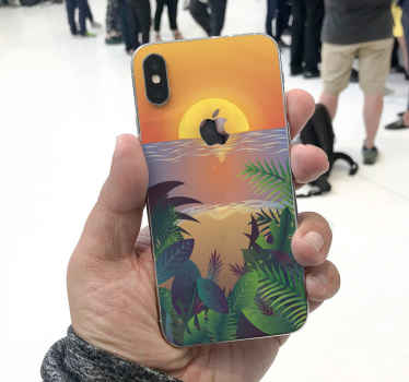 This decorative sunset iPhone decal in retro style would enhance the look of your phone. It is original and easy to apply.