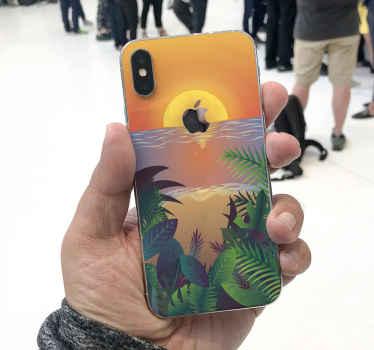 レトロなスタイルのこの装飾的な日没のiphoneデカールは、お使いの携帯電話の外観を向上させます。オリジナルで簡単に適用できます。