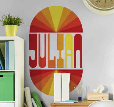 Allow us to print the name you want on this amazing vintage sunset decal. The design displays colour reflections  depicting rainbow on the horizon.