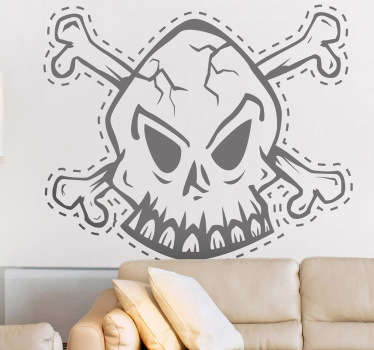 Skull Cut Line Decorative Sticker
