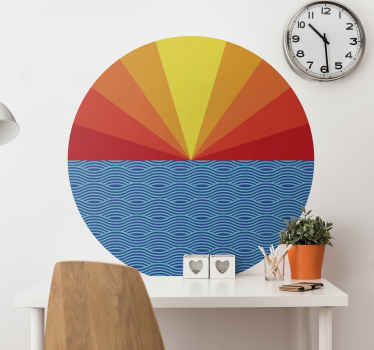Decorative Vintage sunset wall sticker for your home decoration. An amazing design of the sun setting over the sea. It is original and self adhesive.