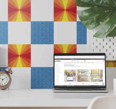 Autocollant décoratif de carreaux de style vintage pour embellir votre maison. L'autocollant contient la conception du coucher du soleil et la conception à motifs.