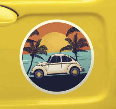70年代の装飾的な車のステッカーへようこそ。海に沈む夕日とビーチのそばの熱帯の木々の美しいデザイン.. それはオリジナルで粘着性があります。