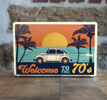Decorate your laptop in vintage style with this amazing retro laptop skin decal with topical trees on beach and inscribed with ''welcome to the 70's'.