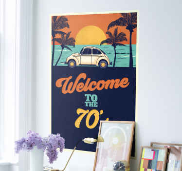 Welcome to 70's vintage decal for your living room. An amazing decorative choice to give your home a touch of vintage and in summer style.