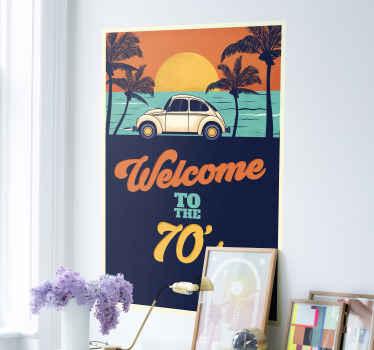 あなたの居間のための70年代のビンテージデカールへようこそ。あなたの家にヴィンテージのタッチと夏のスタイルを与えるための素晴らしい装飾的な選択。