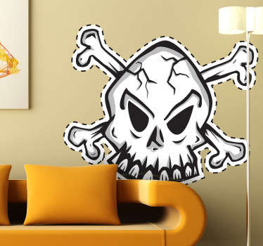 A creative skull design from our collection of pirate wall stickers. Brilliant decal to decorate your home especially if you love pirates!