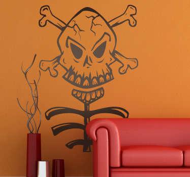 Adhésif mural tête de mort squelette