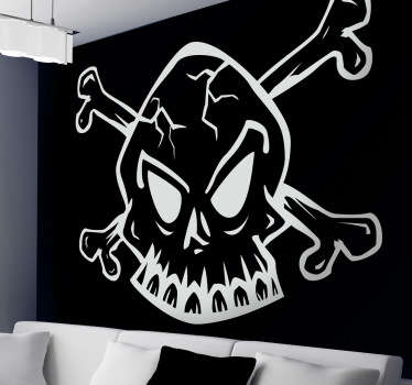 A design of a skull, a very common pirate emblem. Fantastic skull from our pirate wall stickers collection.