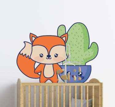 Precioso vinilo bebé para dormitorio infantil con diseño de cactus y zorro dibujados. Elige las medidas y decora el cuarto de tu pequeño
