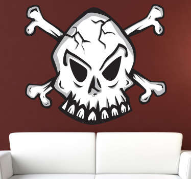 This vinyl decal of a classic emblem of a skull is mainly recognized as the pirate symbol. A design from our pirate wall stickers collection.