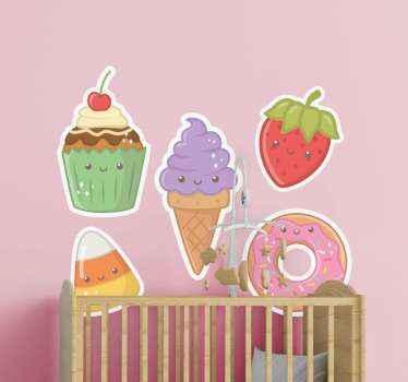 Entzückender anime-nahrungsmittelaufkleber für Wandtattoo. Leckere kinder cartoon essen Aufkleber , um ein zimmer oder kinderzimmer Raum zu dekorieren. Erhältlich in jeder gewünschten Größe.