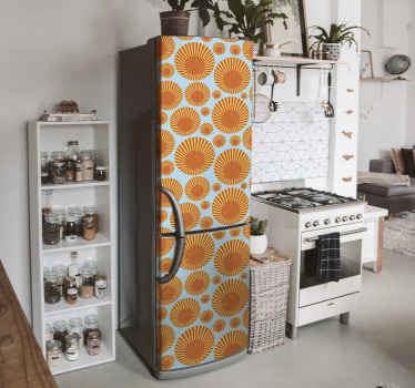 70年代のサンシャイン冷蔵庫のステッカー。あなたの冷蔵庫スペースのドアを素敵な方法で変えるためのかわいいデザイン。粘着性があり、塗布が簡単です。