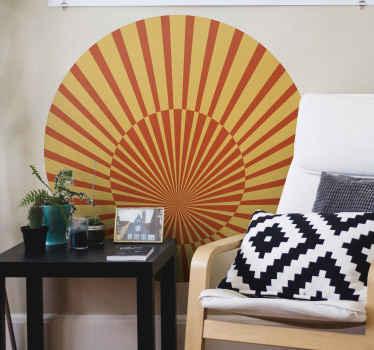 Vinilo geométrico del sol de los 70 simplemente encantadora para hacer que cualquier habitación de tu casa ¡Fácil de colocar!