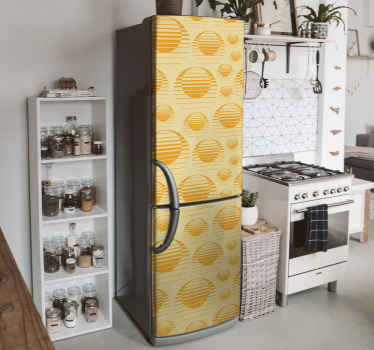 Retro sun drawing  fridge sticker to beautiful the door space of your fridge. The design is original and super easy to apply.