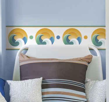 壁のスペースを活気づける何かをお探しですか?この装飾的なボーダーデカールはそうするでしょう。デザインは太陽と波のイラストです。