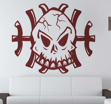 страшный череп Хэллоуин наклейка