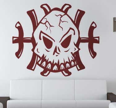 Sticker mural tete de mort os