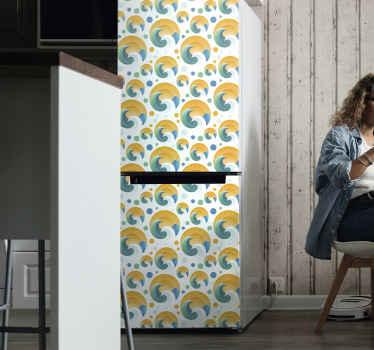 あなたの冷蔵庫のドアスペースを美しくするための装飾的な太陽と波の冷蔵庫のステッカー。デザインはオリジナルで、適用が非常に簡単です。
